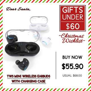 【GIFTS UNDER $60】TWS Mini Wireless Earbuds With Magnetic Charging Case