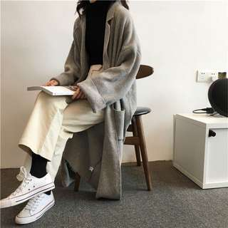 ɴᴇᴡ 12 / 15✨ ░ LIZDASHOP / 韓版寬鬆百搭純色中長款過膝西裝領開衫外套#0160212