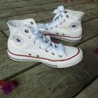 Hi top white converse