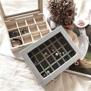 ɴᴇᴡ 12 / 15✨ ░ LIZDASHOP / 首飾盒隨身公主歐式韓國帶鎖珠寶盒耳釘首飾品戒指架冰絲絨收納盒#10106