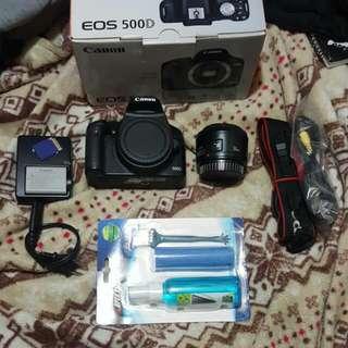 Canon 500D + lens 50mm f/1.8 ll