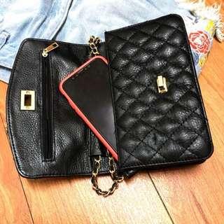 【出售】: 韓貨韓系 小羊皮 真皮 黑菱格 鍊包