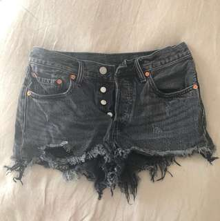 Levis Wedgie Fit Distressed Denim Shorts