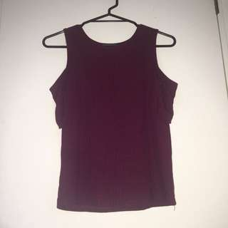 Maroon cut out shoulder top