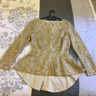 Light Gold Paisley Highlow Blouse