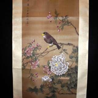 早期地方名家手繪真跡 顧允莊 - 花鳥 絹本立軸