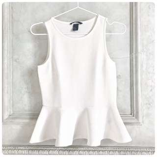 H&M White Peplum Top