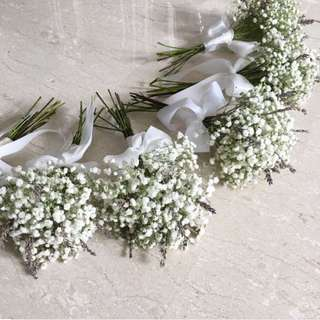 Bridesmaids Bouquet of Baby Breath and Lavender