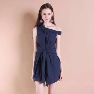 Neonmello Allie slanted shoulder wrap dress in Navy blue