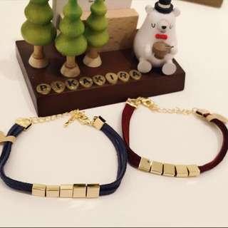 🚚 韓國金屬方塊麂皮手鍊
