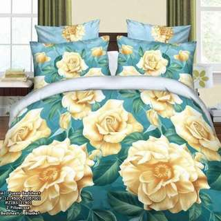 4in1 queensize ⚛️1 bedsheet 1 blanket 2 pillowcases ⚛️garter