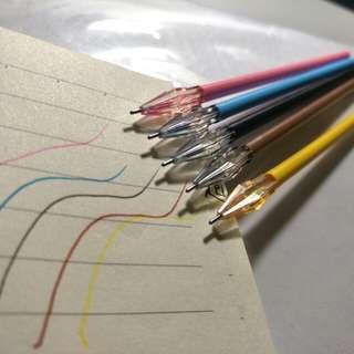 彩色鑽石細管原子筆芯5入(藍粉黑棕黃)