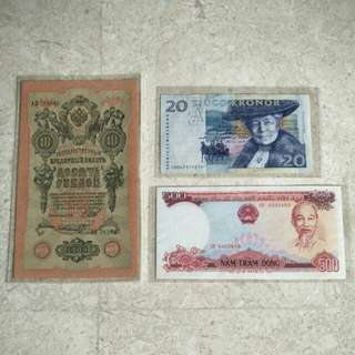 A LOT 3 PCS FOREIGN BANKNOTES