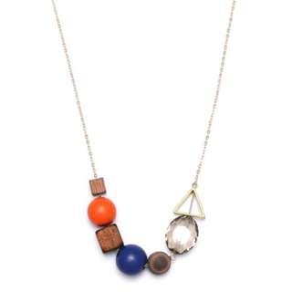 Geometric wood Long necklace