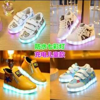 [預訂貨品] (2對/2pairs) 韓版LED兒童男童女童休閑運動鞋 (有碼有色內長inner length from 15-22.5cm) (健高推廣系列) (包Buyup自取站取貨) (LED Shoes for kids 2 pairs)