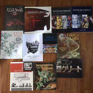 Art books - science fiction, anime, manga, movies, video games, drawing, digital painting, sketching