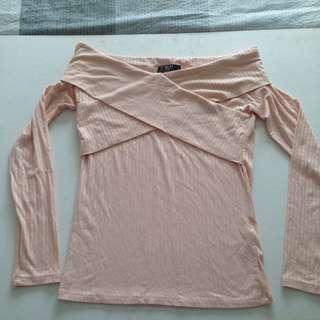 Light pink wrap ribbed long sleeve