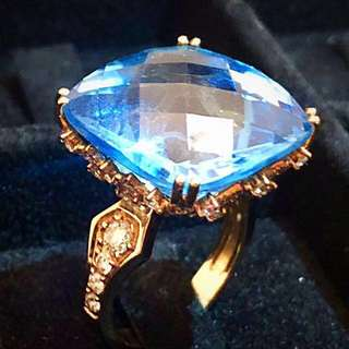 """Art Deco style gem """"blue lagoon"""" precious stone with diamond settings on gold plated ring (size :11.5-12)"""