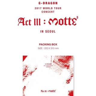 G-DRAGON - 2017 CONCERT ACT III, M.O.T.T.E IN SEOUL