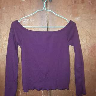 Maroon-plum Off Shoulder Scallop Long Sleeves