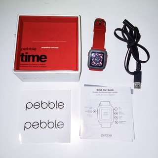 smart watch pebble - red