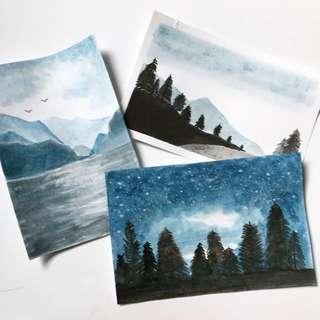 Landscape Watercolour Cards