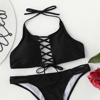 Black Criss Cross Ladder Cutout Halter Bikini Set