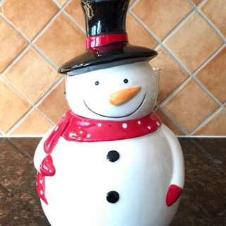Snowman ceramic cookies jar