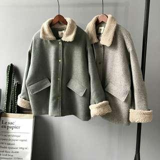 韓單毛領厚毛料外套