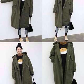 韓單長版大衣式舖棉外套