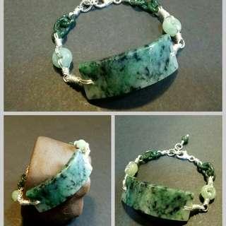 破裂玉鈪鑲作純銀手鍊