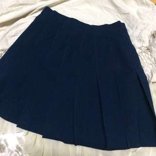 School Girl Pleated Skirt - Dark Blue