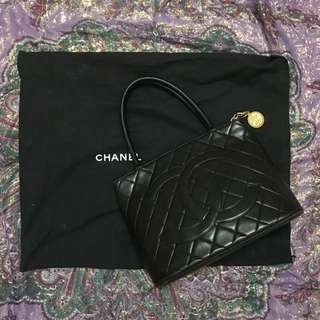 Authentic Chanel Medallion Lambskin Leather Totebag