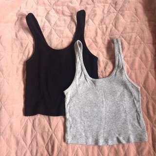 Grey and black Crop tops