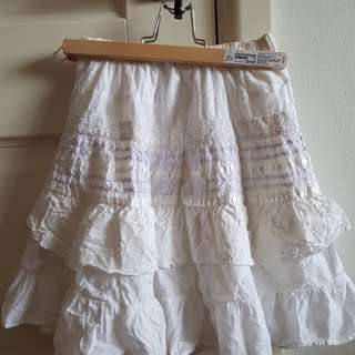 Vintage lace flowy white skirt