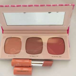 Bare essentials blush palette and lipstick