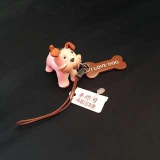 全新✨日本當地限定🇯🇵手作工藝皮革小狗吊飾