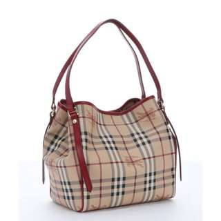 baca3284de63 Burberry Military Red Leather Haymarket Canvas Small Tote Bag