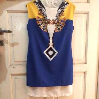 Elegant Yellow Blue Dress