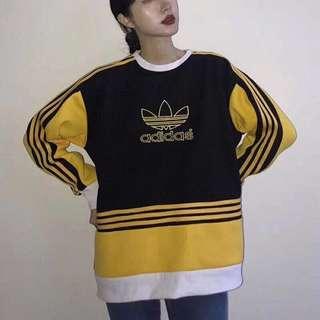 Adidas 復古衛衣 經典 刺繡 三葉 古著 蜜蜂 大黃蜂配色 黑黃 大學t