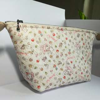 Hand quilted cosmetic / multipurpose pouch - Melody imported fabric