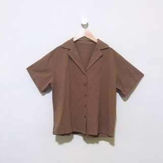 🚚 ⭕️降價⭕️寬鬆翻領單排扣短袖襯衫