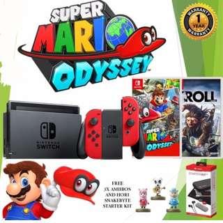 Brand New Nintendo Switch + Super Mario Odyssey + Troll + 3 Amiibos + Snakebyte Starter Kit