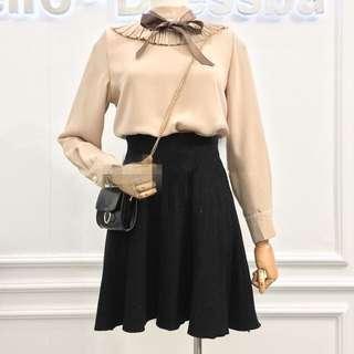 針織高腰百褶裙 秋冬搭配必備 黑色