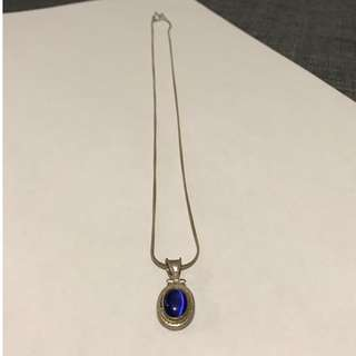 Silver Necklace with Blue Stone