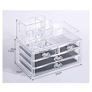 Acrylic Makeup Organizer Storage Box Drawer Cosmetic Jewelry Transparent - Type B
