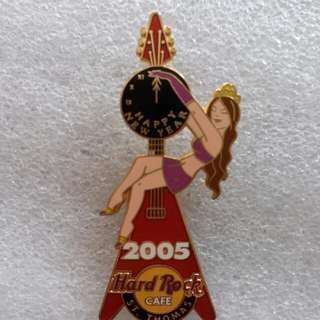 Hard Rock Cafe Pins ~ ST. THOMAS HOT & RARE 2005 NEW YEAR'S DAY CLOCK GUITAR PIN!