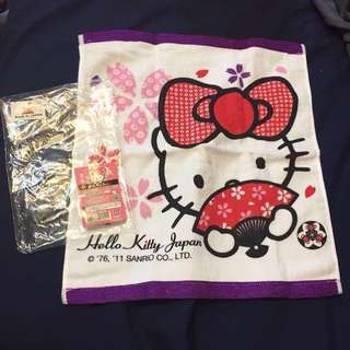 Hello Kitty 經典大蝴蝶手巾(日本限定&日本製做)| Hello Kitty Classic Cotton handkerchief (Made in Japan & For Sale in Japan Only)