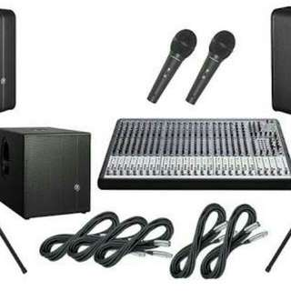 For rent : sound system and projector
