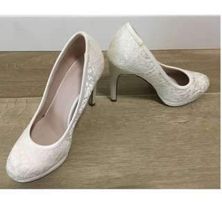 New Look White Lace Platform Shoes